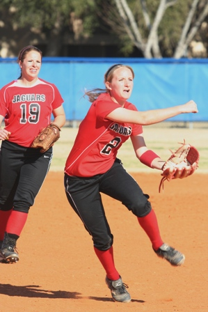 UHV shortstop Ashley Winegeart fires a throw to first to get a Texas Southern runner Saturday.