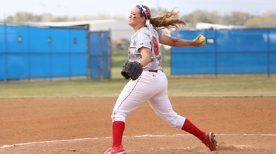 UHV's Haley Beam teamed with Michelle Revels for a 3-hit shutout against Texas Wesleyan on Saturday.
