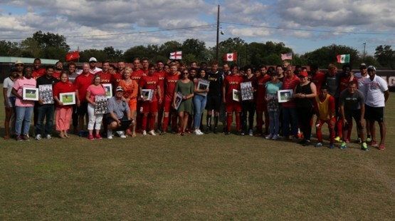 Seniors from the UHV men's soccer team were recognized on Sunday. (Justin O'Hara Photo)