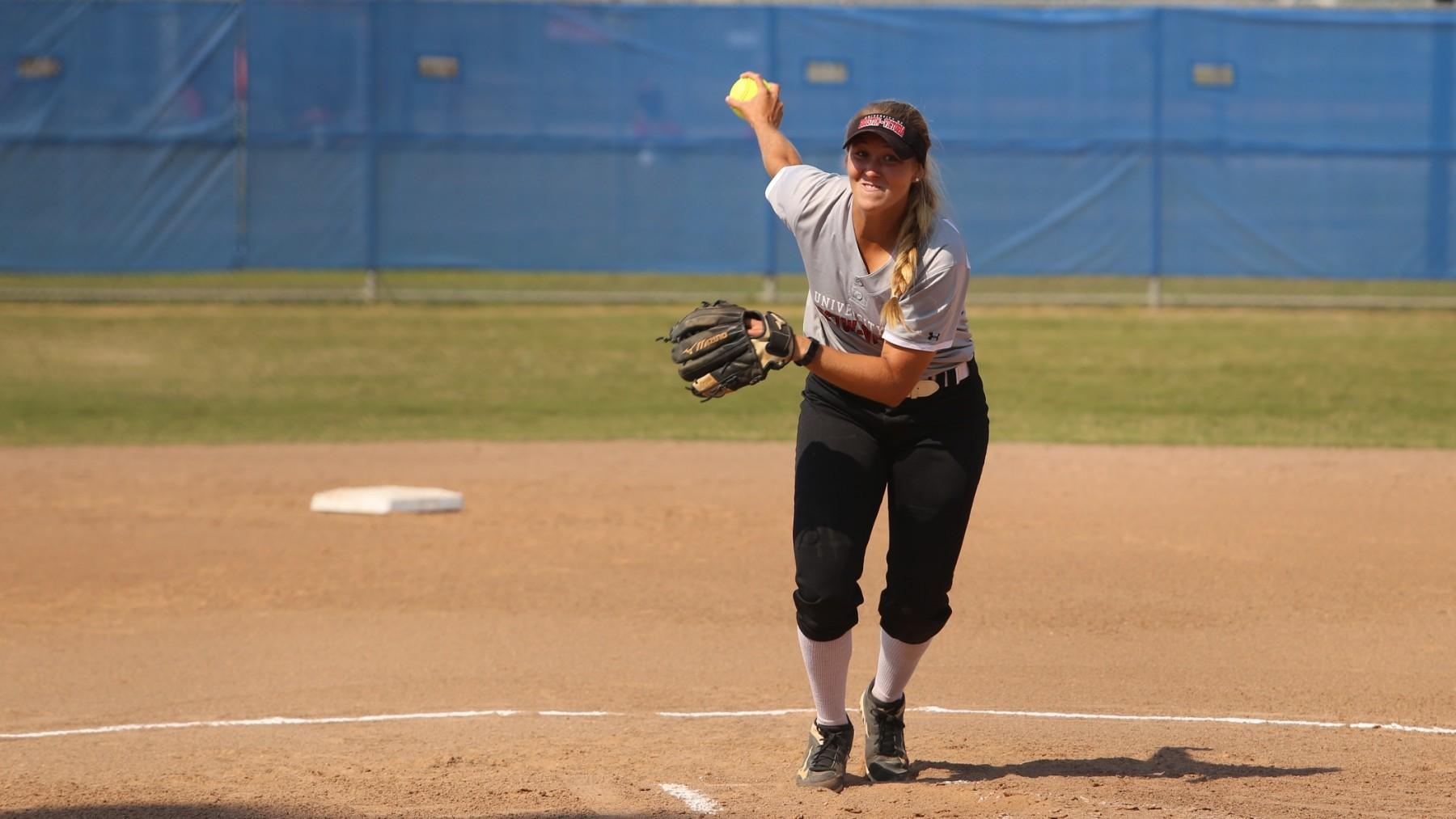 UHV's Haley Beam tossed a two-hit shutout Friday against Langston University.