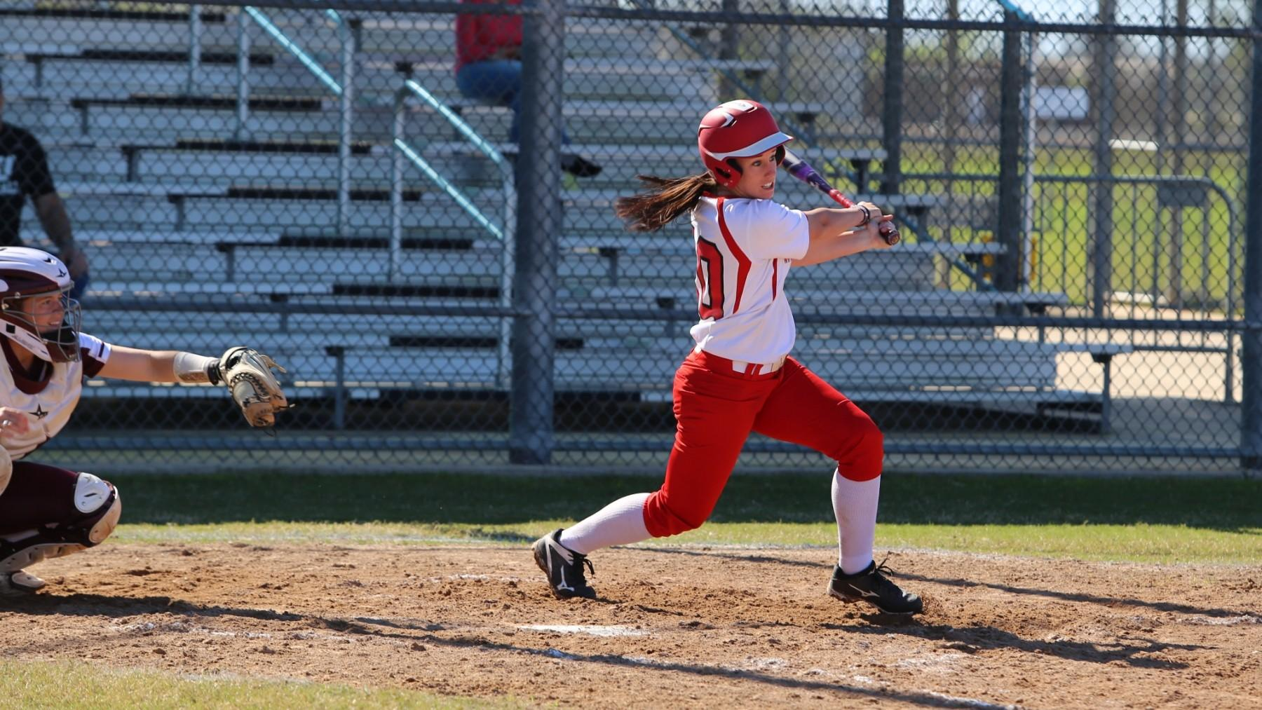 UHV's Aubri Hockenbury hit two home runs in Game 1 against LSUA on Friday.