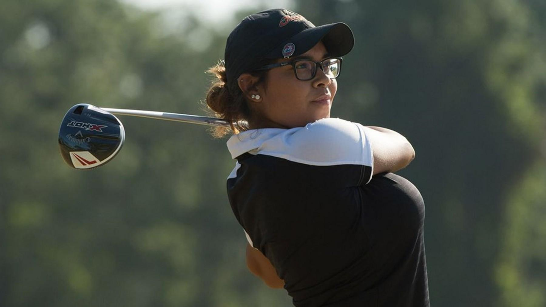 Jo Ellen Canales follows her tee shot Sunday at the 31st PGA Minority Championships. (Montana Pritchard/PGA of America)