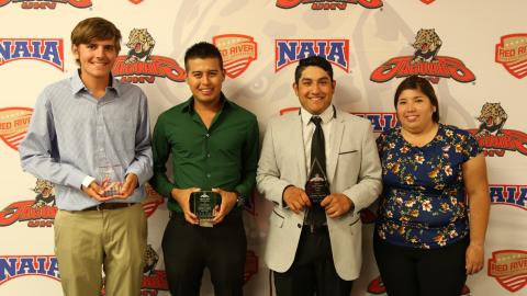 James Rollins, Adrian Saenz, Cristian Esparza and UHV golf coach Christi Cano.
