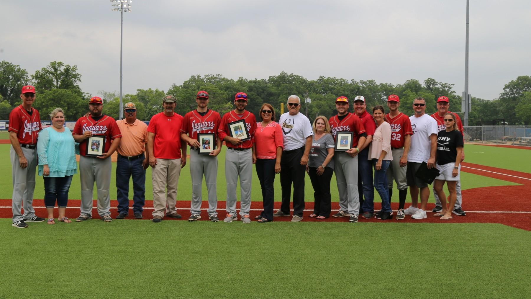 The UHV baseball team honored its five seniors Saturday during a doubleheader with Our Lady of the Lake. (Justin O'Hara Photo